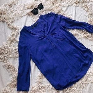 ZARA BASIC Royal Blue V-Neck Shirt 💕💕